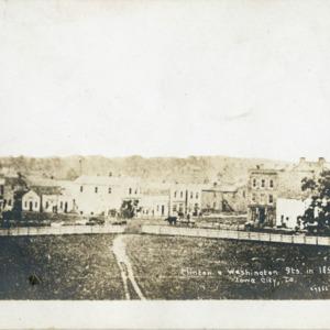 Clinton & Washington Streets in 1853, Iowa City, Iowa