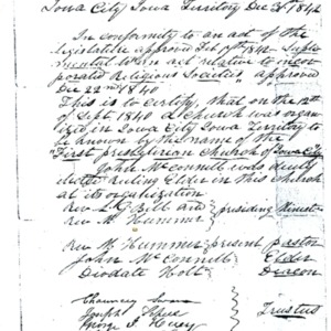 1842 Photocopy of Founding Letter