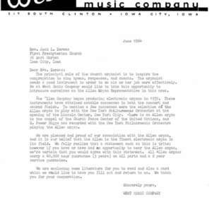 1964 Letter from West Music Company to Rev. Zerwas