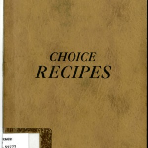 Choice Recipes Cookbook, 1920s