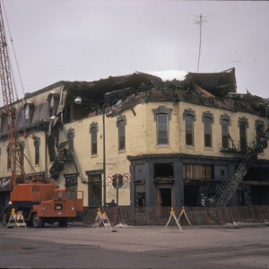 Demolition of the Odd Fellows Building, Corner of East College & South Dubuque Streets, 1975