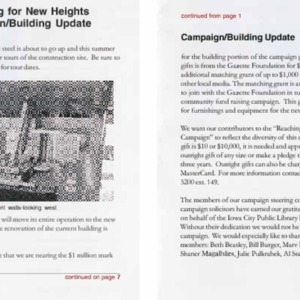 2002 Reaching for New Heights Campaign Building Update