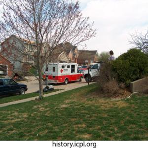 Red Cross truck parked on Woodridge Avenue