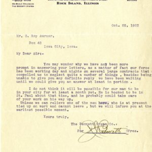 Letter from R.J. Bennett of the Bennet Organ Company to Roy C. Aurner of Iowa City