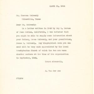 1944 Letter from J. Van der Zee to Mr. Sherman McCready