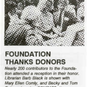 1990 Foundation Thanks Donors