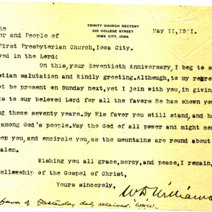 1911 Letter from Rector Williams to the First Presbyterian Church