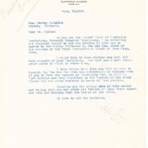 1940 Letter to Rev. Harvey H. Mullan