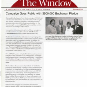 2001 Campaign Goes Public with $500000 Buchanan Pledge