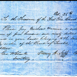 1853 Request for Rev. Michael Hummer to be paid $490.00