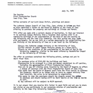 1975 Letter offering to purchase the First Presbyterian Church building