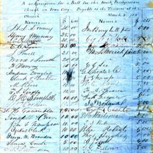1855 Subscription ledger for a bell for the North Presbyterian Church in Iowa City