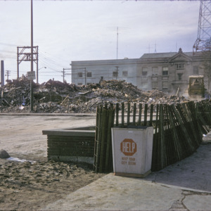 Building Remains and City Trash Bin, Capitol and Washington Streets, 1975