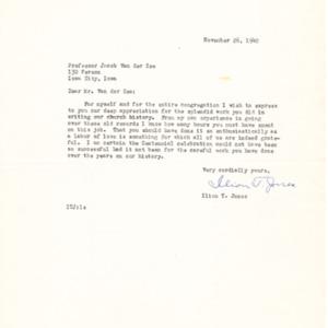 1940 Letter from Ilion T. Jones to Jacob Van der Zee
