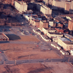 Aerial view of downtown Iowa City land development, 1970s