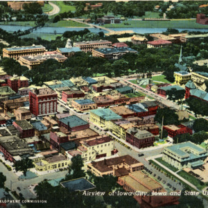 Airview of Iowa City, Iowa and State University