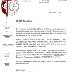 Press Release from First United Methodist Church