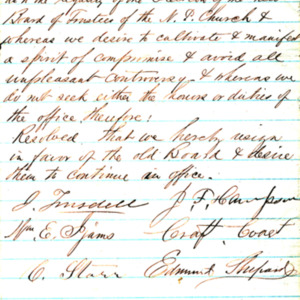 1858 Resignation letter of the North Presbyterian Church Board of Trustees