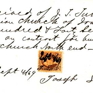 1869 Receipt for building part of the Presbyterian Church of Iowa City