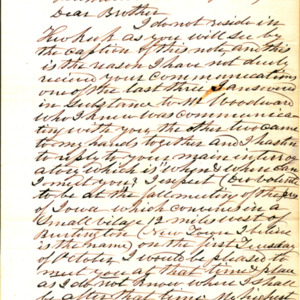 1853 Letter from Rev. Hummer to Rev. Crozier