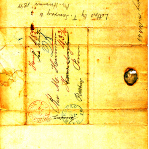 1844 Letter and envelope from Theodore Sanxay to Rev. Michael Hummer