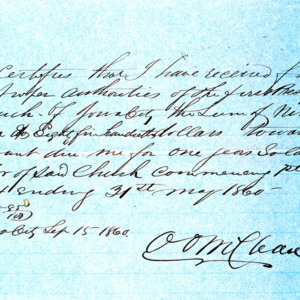1860 Receipt for $905.85 received by Rev. Oliver O. McClean, for services as pastor of the First Presbyterian Church