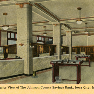 Interior View of the Johnson County Savings Bank, Iowa City, Iowa