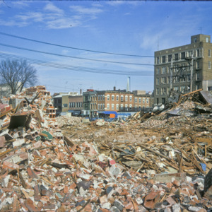 Building Debris at Washington and Clinton Streets, 1970-1976