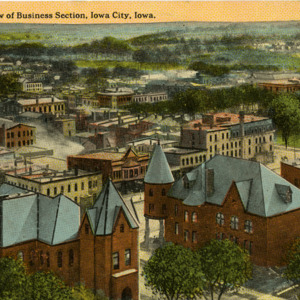 Bird's Eye View of Business Section, Iowa City, Iowa