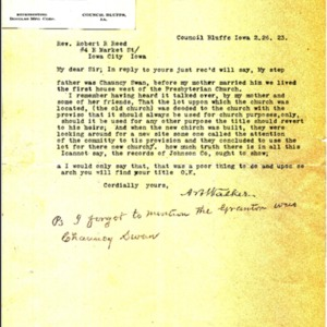 1923 Letter from A.B. Walker to Rev. Robert Reed regarding church property