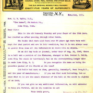 1911 Letter from Andrew Meneely of Meneely & Co. to Rev. Wylie, about the bell that the foundry made for a church in Iowa City in 1849.