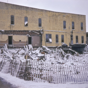 Building Remains Under Snow, 100-Block South Dubuque Street, 1970-1976