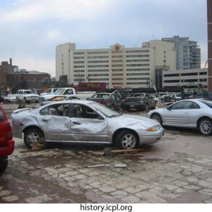 Damaged Cars near Burlington Street