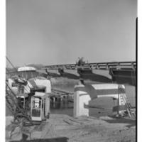Building a Bridge over the Iowa River, 1950s
