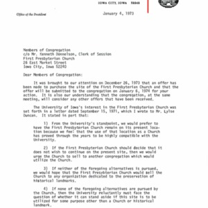 1973 Letter about purchasing First Presbyterian Church building