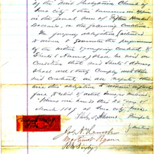 1869 Warranty contract for Sheets & Adams to the Board of Trustees of the Church