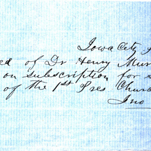 1853 Receipt for $91.00 received by Rev. John Crozier, for services as pastor of the First Presbyterian Church
