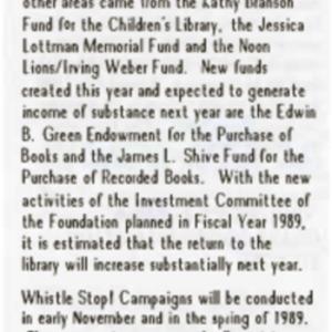 1988 October Foundation Update