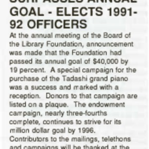 1991 Foundation Surpasses Annual Goal