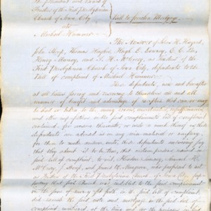 1851 Response to Bill of Complaint brought by Rev. Hummer against the Church