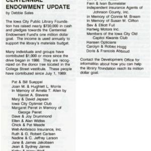 1990 Centenial Endowment Update
