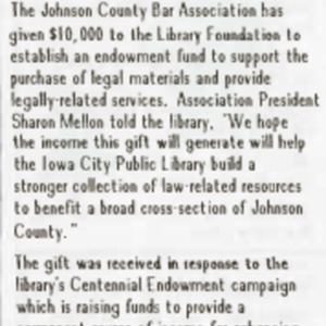1989 Bar Association Gives $10000 to Increase Law Related Resources at the Library