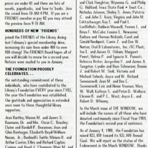 1988 February Friends and Foundation News