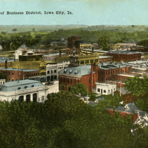 Bird's Eye View of Business District, Iowa City, Iowa