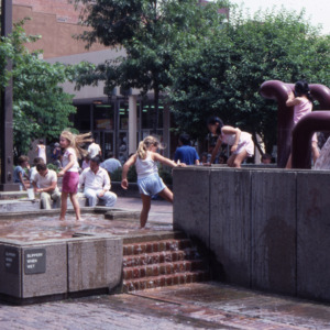 Fountain at Dubuque and College Streets, Pedestrian Mall, 1986