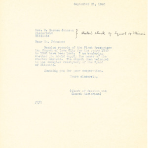1940 Letters requesting assistance in finding missing information