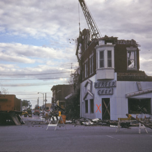 Wrecking ball into Burger Chef, 101 S Clinton St, 1974