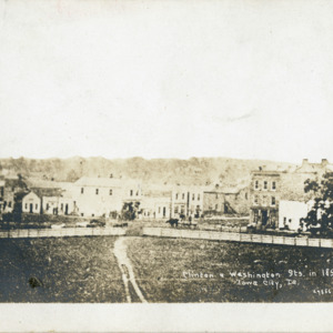 Clinton & Washington Streets in 1853, Iowa City, Iowa