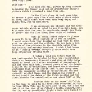 1943 Letter from J. Kirkwood Craig to Jacob Van der Zee and photocopied portrait of Elder Shoup