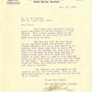 Letter from J.M. Peard of the Bennet Organ Company to Roy C. Aurner of Iowa City